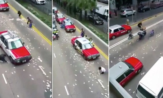 Гонконг: из грузовика выпали миллионы долларов