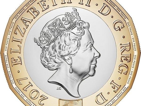 монета достоинством в один фунт, фунт стерлингов, 12-гранная монета, Королевский монетный двор, Великобритания