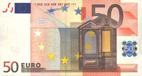 купюра номиналом 50 евро, банкнота, Центральный Банк ЕС, страны Еврозоны