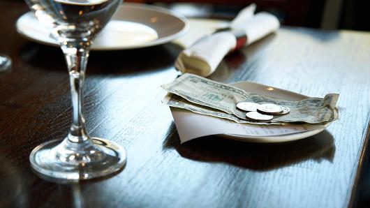 ресторан, чаевые, США