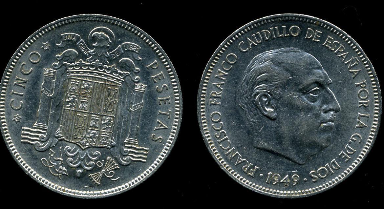 5 песет 1949 года