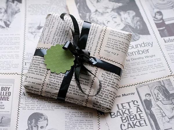 Газетная упаковка подарка
