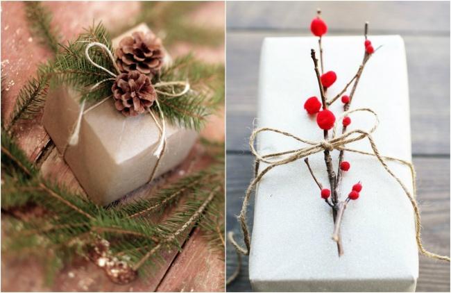 упаковка подарка с натуральными элементами декора