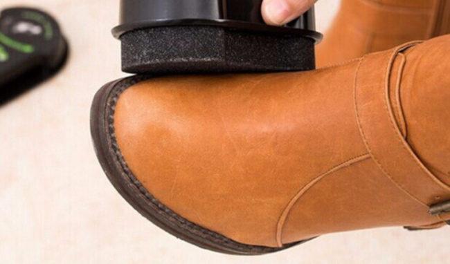 чистка обуви губкой