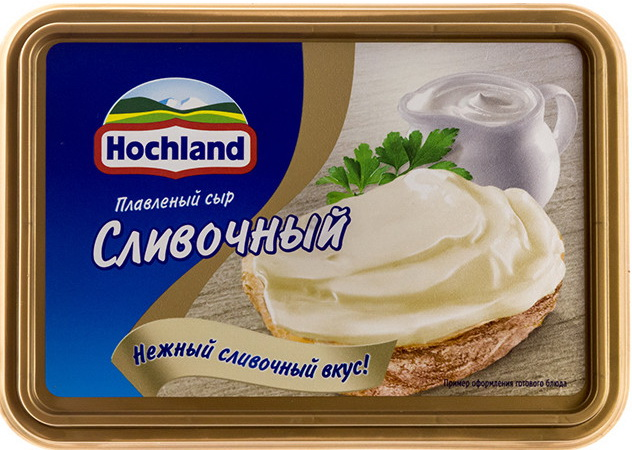 плавленый сыр Hochland сливочный.