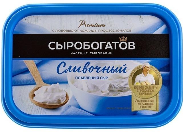 """плавленый сыр """"Сыробогатов"""" сливочный."""