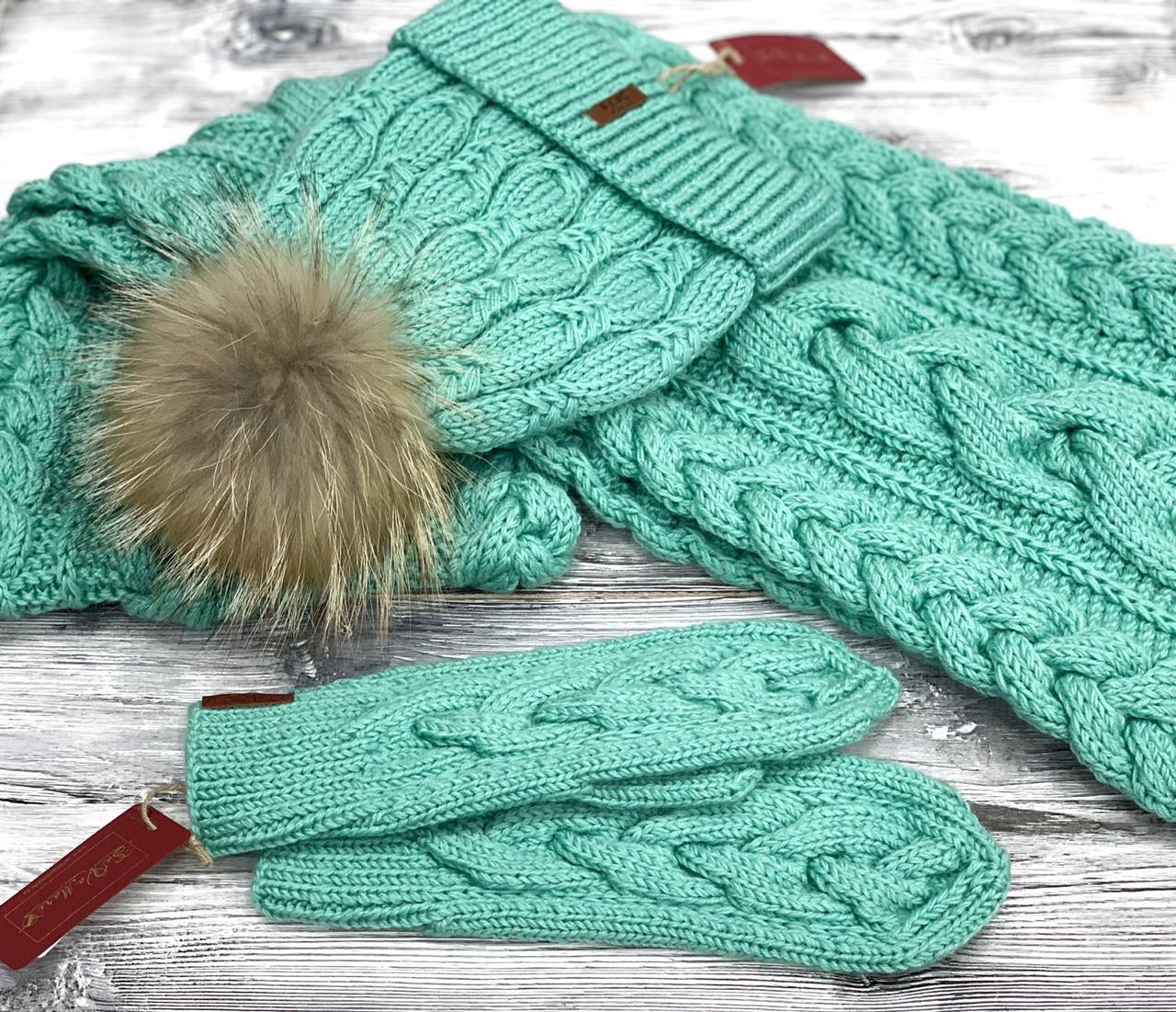 комплект шапка, шары, перчатки