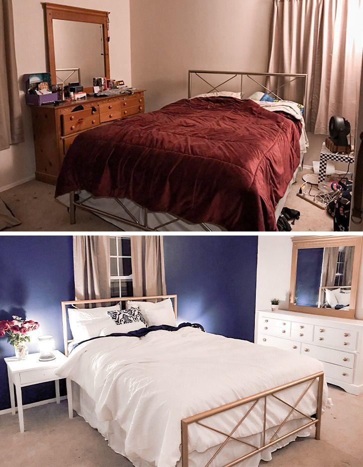 ремонт спальни до и после