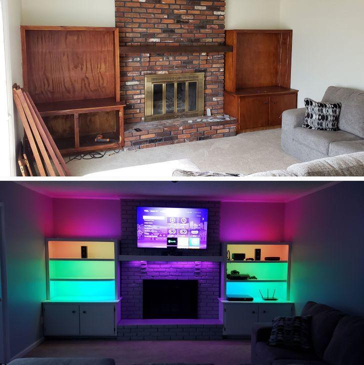 ремонт гостиной до и после