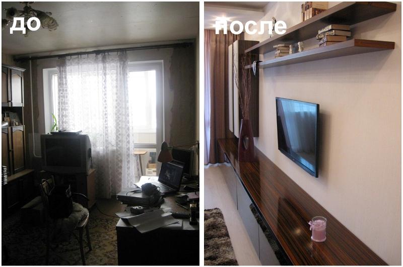 ремонт кабинета до и после