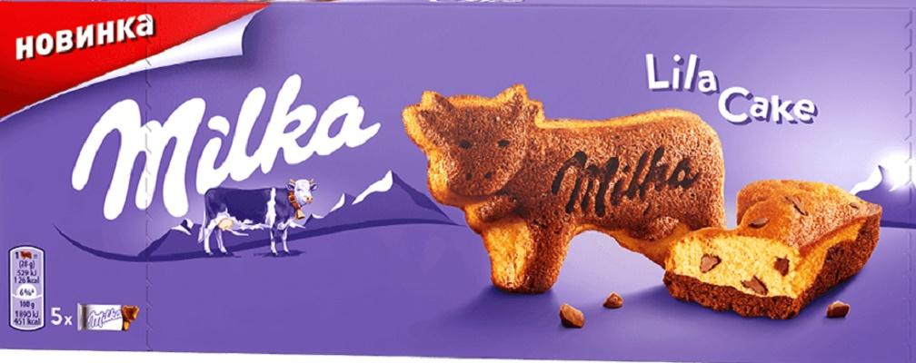Бисквитное пирожное Milka Двухслойное Lila cake
