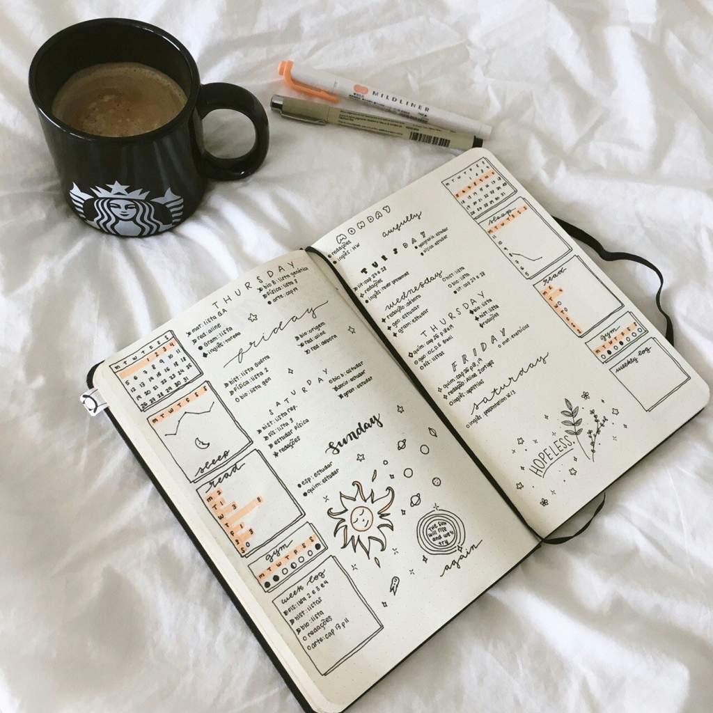 дневник и чашка кофе