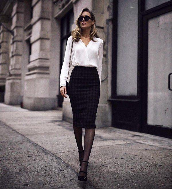 классика черная юбка-карандаш и белая блузка