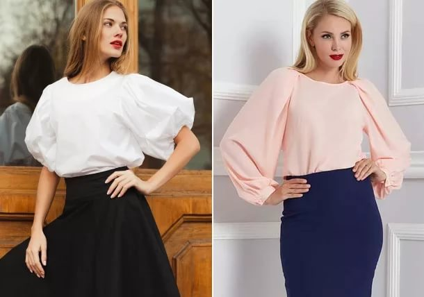 светлая блузка и темная юбка