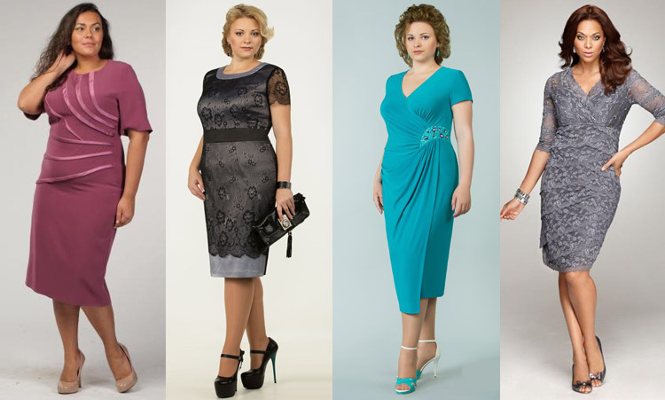 варианты новогодних платьев для полных женщин