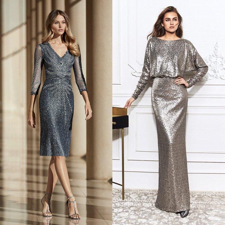вечерние платья оттенка металлик