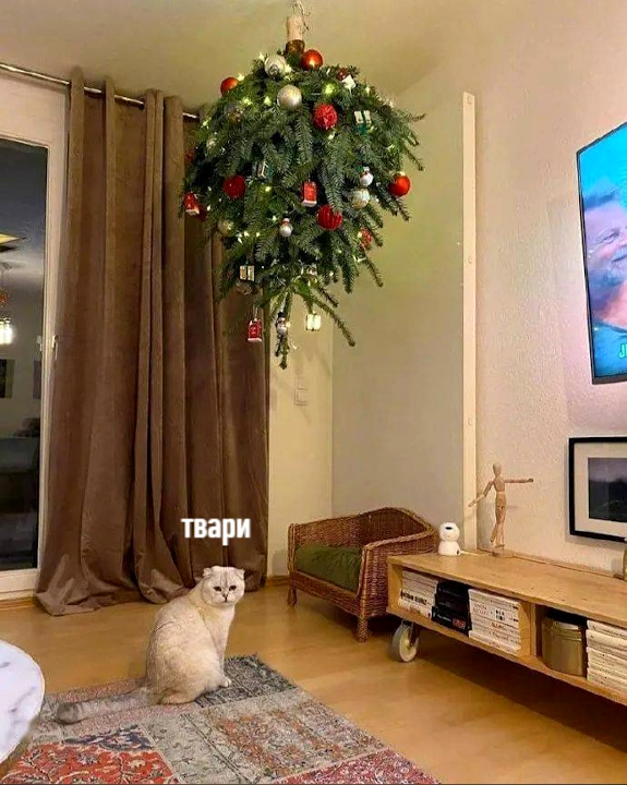 елка на потолке прикол