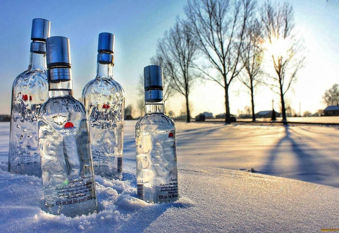 водка на снегу
