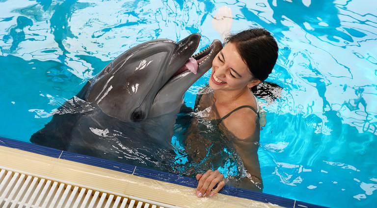 девушка плавает с дельфином