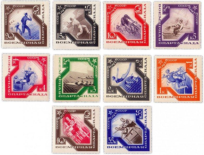 Советские марки на спортивную тематику