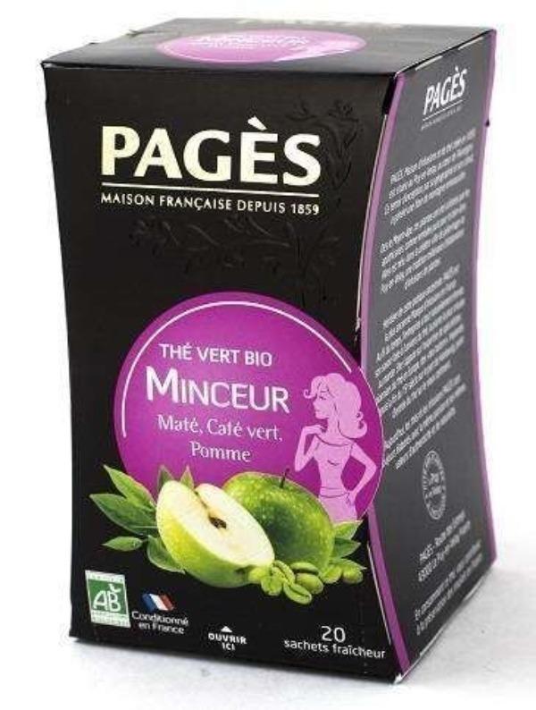 Pages с фруктами и зеленым кофе чай