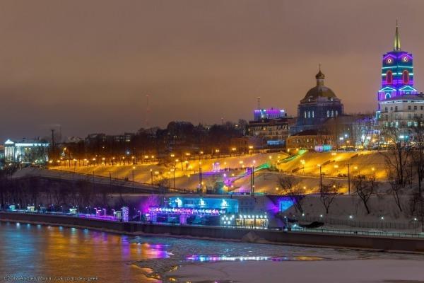 подсветка города, ночной город