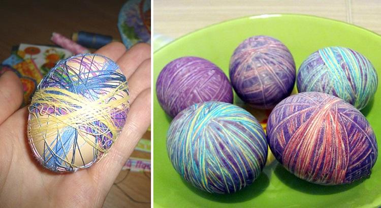 Яйцо обмотано мулине и вареные