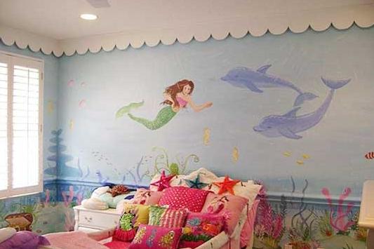 Русалочка на стене детской комнаты