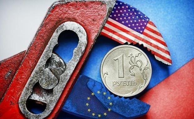 Рубль и американский флаг