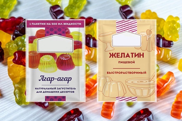 Агар-агар и желатин в пакетиках