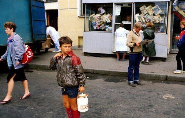 Мальчик с бидоном в СССР