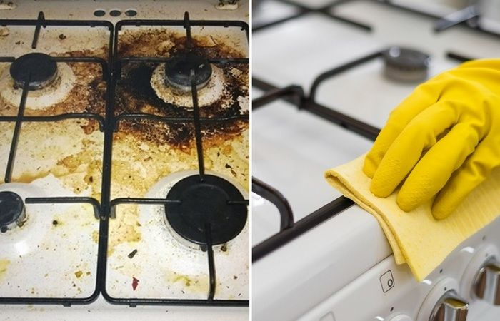 Плита до чистки и после