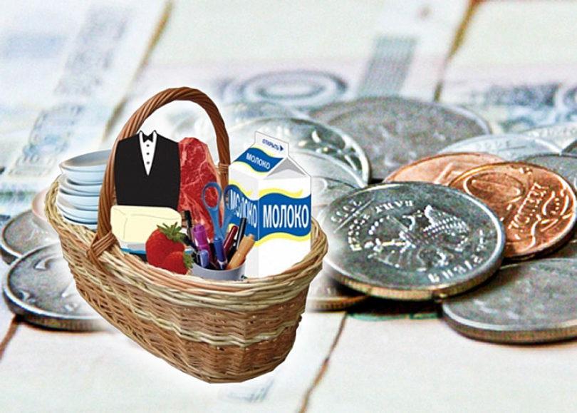 Корзина с покупками и деньги