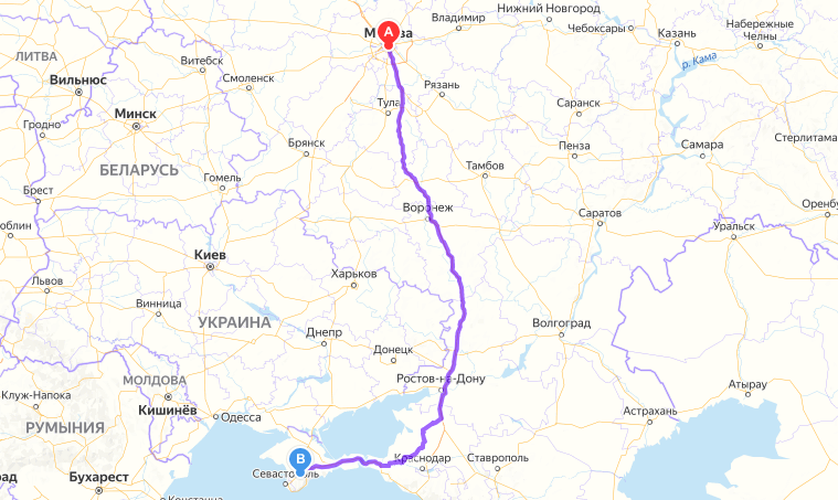 Маршрут Москва-Симферополь на карте