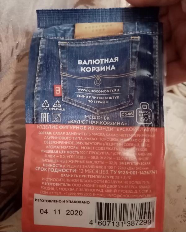 Состав конфет Мешочек «Валютная корзина»