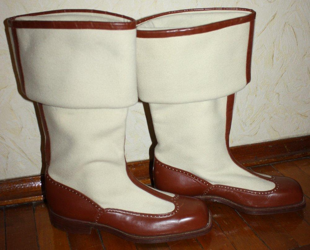 Сапоги-бурки светлые с коричневым