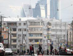 Вид на Москва-сити со стороны панельных домов