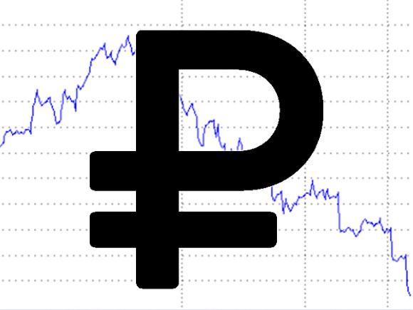 Обозначение рубля и график вниз
