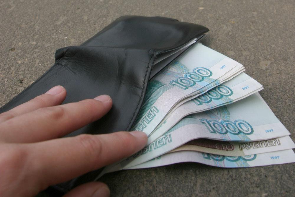 Рубли купюрами и бумажник
