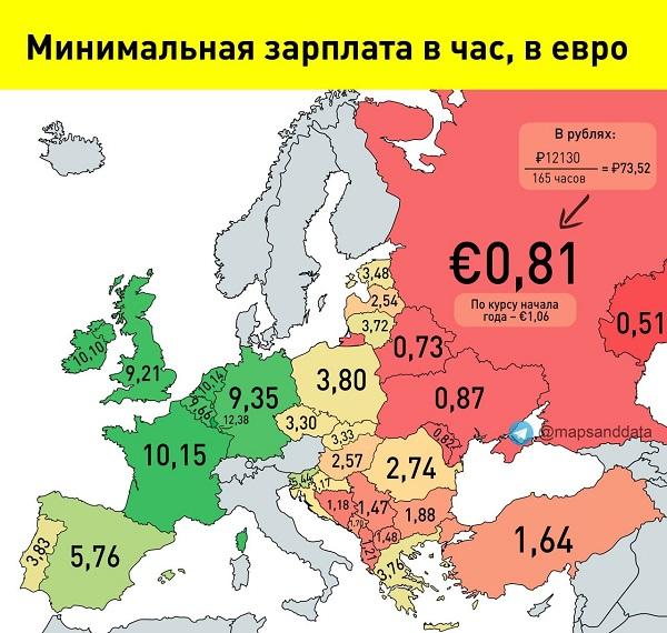 Карта минимальной зарплаты по регионам России