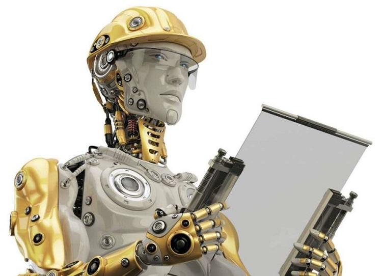 Робот -рабочий с планшетом