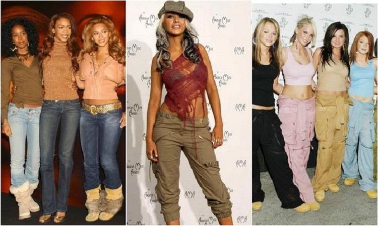 Девушки в джинсах с заниженной талией и топах