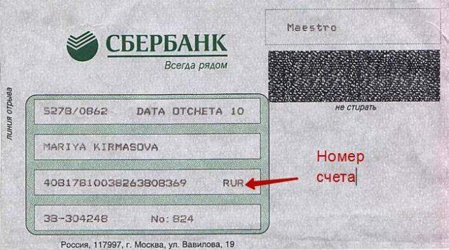 Реквизиты карточного счета на конверте, прилагающегося к карте