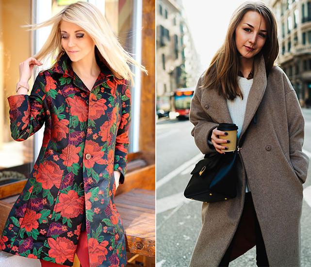 Пальто в цветок и строгое